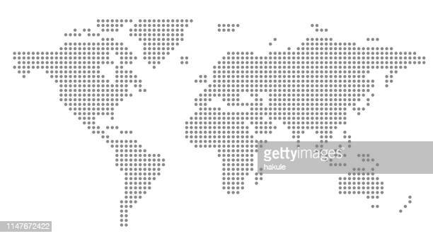 simple dot business map of the world, vector background - spotted stock illustrations