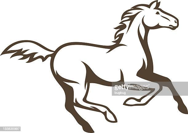 A Simple Drawing Of Brown Horse