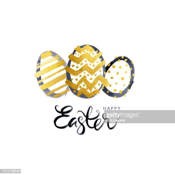 simple easter greeting card with three easter eggs in the middle and handwritten text under - vector illustration in black and gold colors isolated on white paper background with messy and uneven dots pots lines and zig zags - easter egg stock illustrations