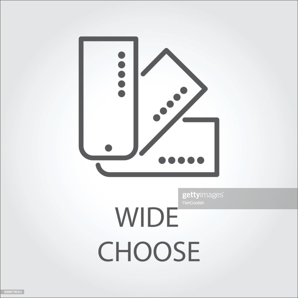 Simple emblem of cards symbolizing a wide choose. Icon drawing in outline style. Vector illustration