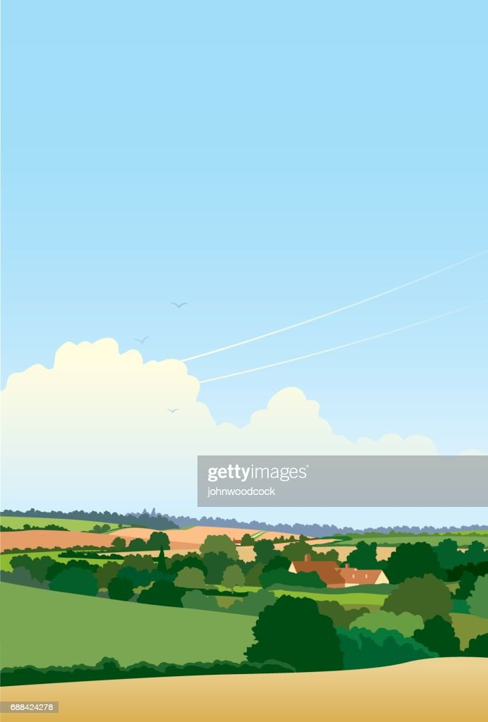 Simple English landscape illustration : stock illustration