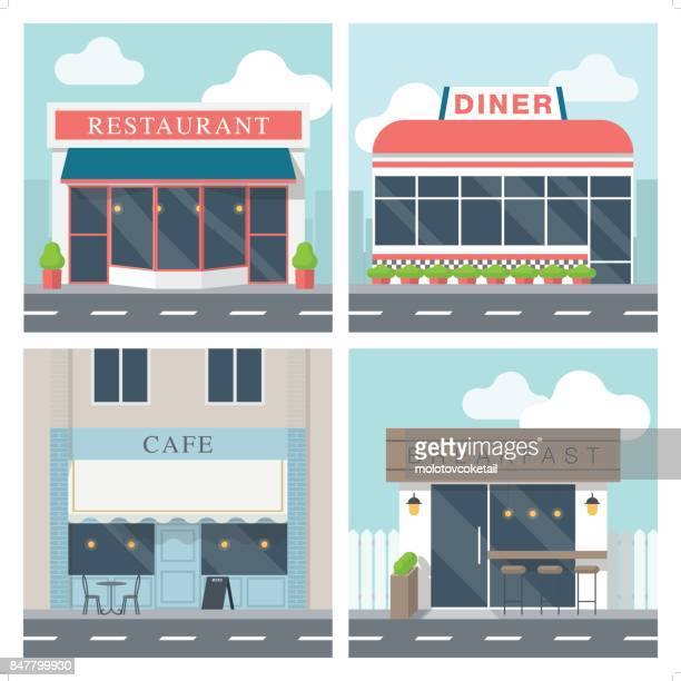 4 simple exterior illustration of restaurant building