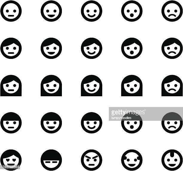ilustrações, clipart, desenhos animados e ícones de rosto simples símbolos - smiley faces