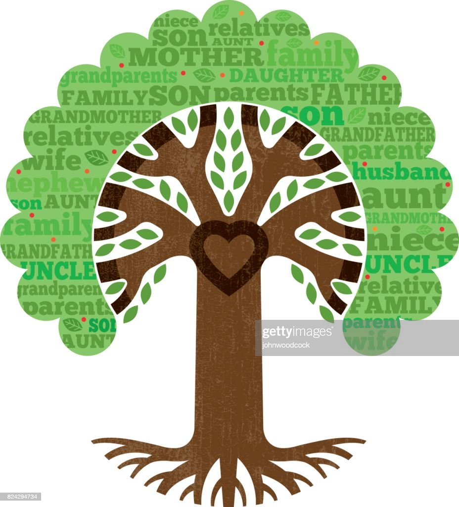 Simple family heart tree illustration