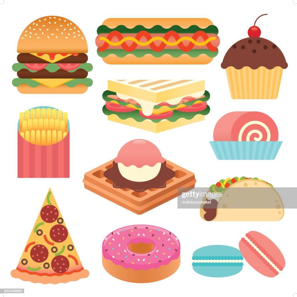 conjunto de iconos de comida rápida simple : Ilustración de stock