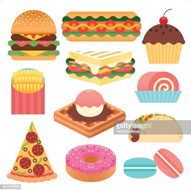 simple fast food icon set - donut stock illustrations, clip art, cartoons, & icons