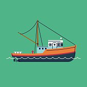 Simple fishing boat decorative element