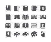 Simple flat high quality vector icon set,Contains such Icons as book, digital book, bookmark, openbook, isometric books and more.48x48 Pixel Perfect.