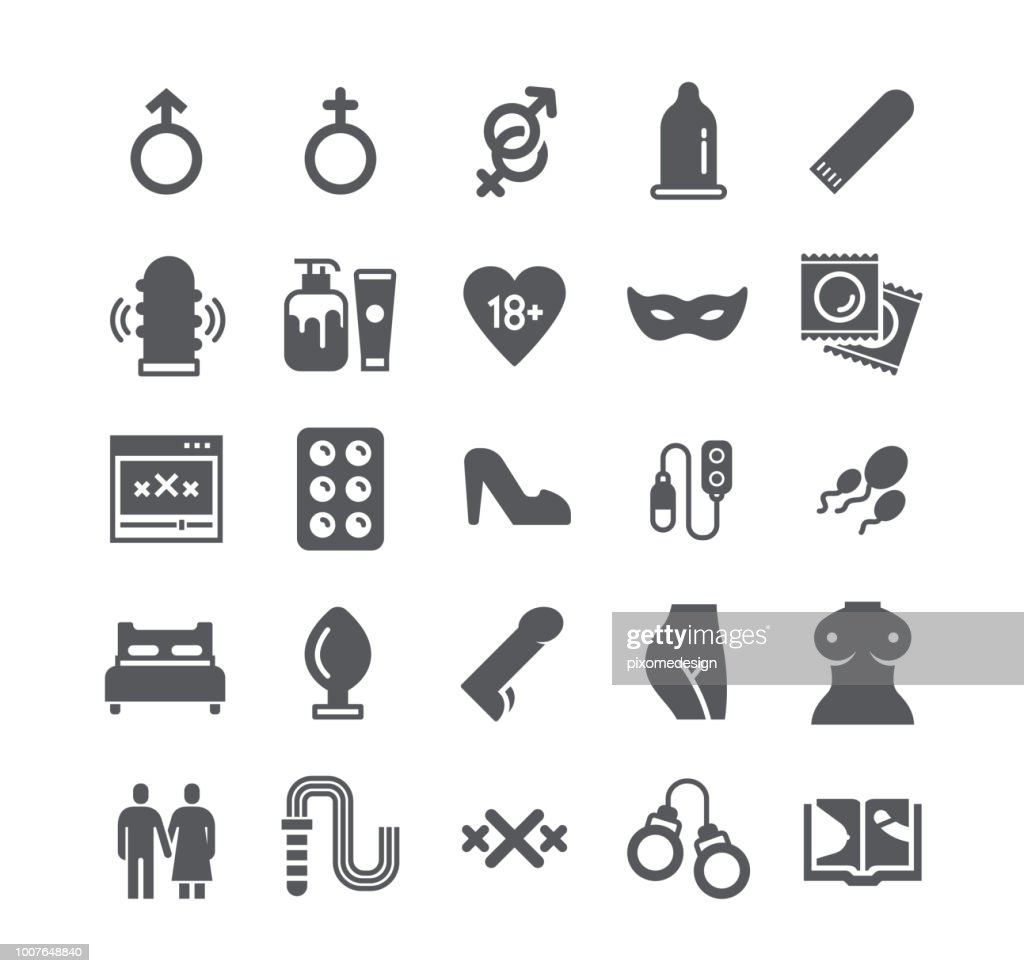 Simple flat high quality vector icon set,Intim or Sex Shop, Eroticism Love Couple, Pornography and more. 48x48 Pixel Perfect.