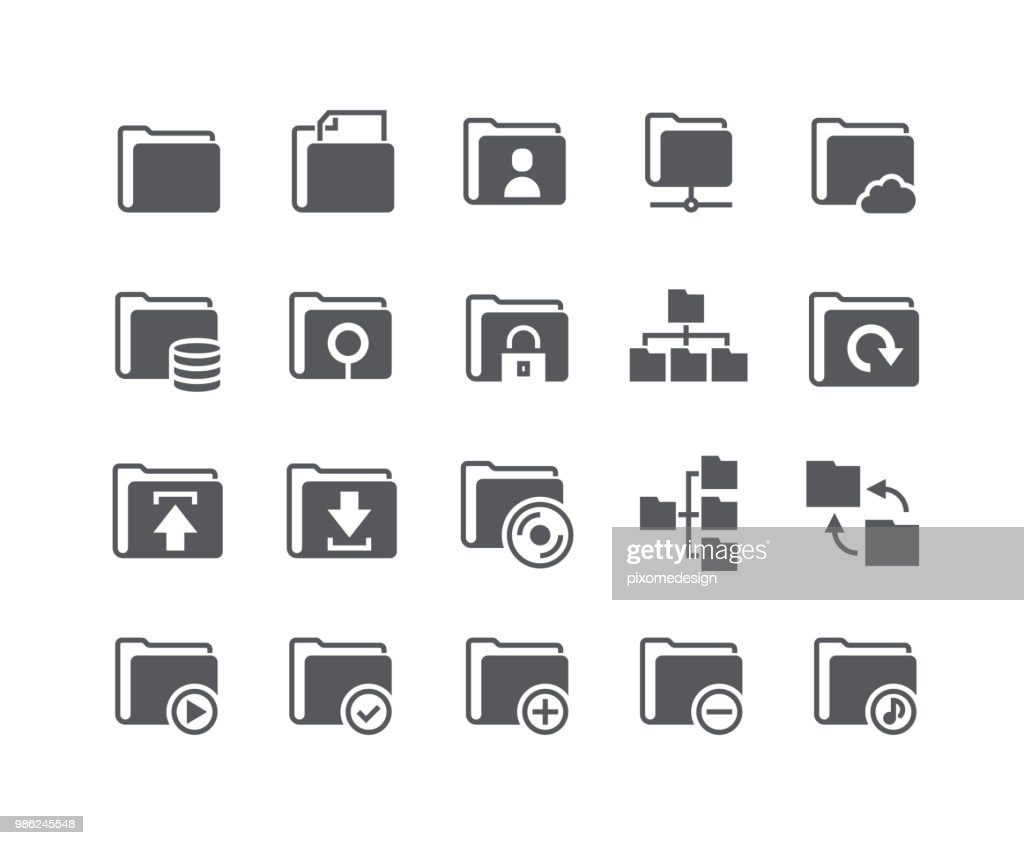 Simple flat high quality vector icon set,Various folders System icons, shares, security, servers, relationships and more.48x48 Pixel Perfect.
