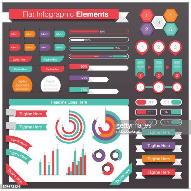 Simple flat infographic design elements