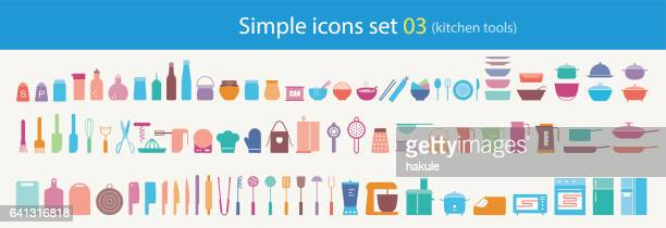 simple flat kitchen tools icon set, vector illustration - paper towel stock illustrations, clip art, cartoons, & icons