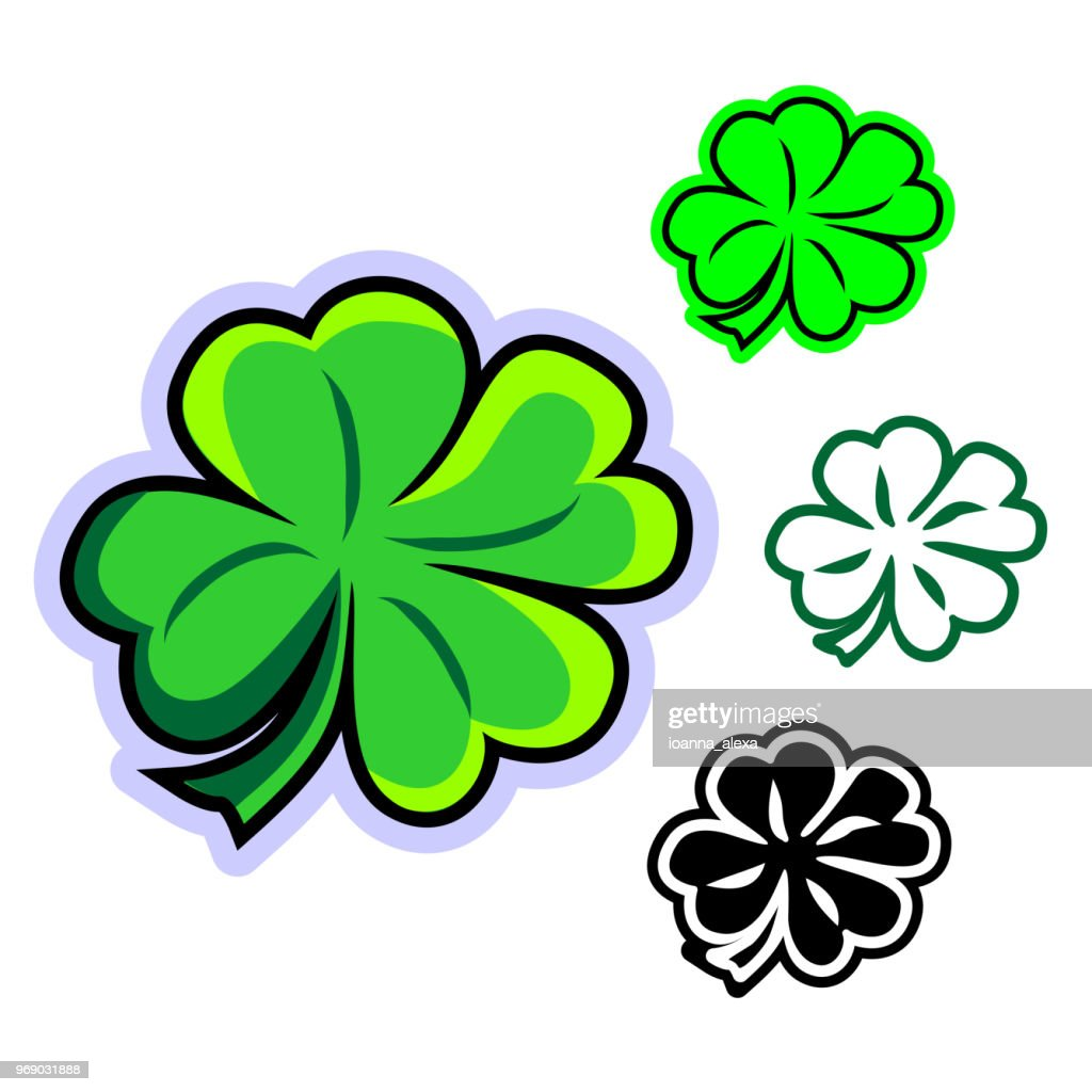 Simple flat vector clipart of four-leafed clover