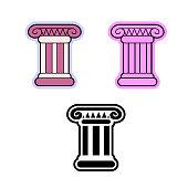 Simple flat vector icon of Roman or Greek pillar (the Ionic order column)
