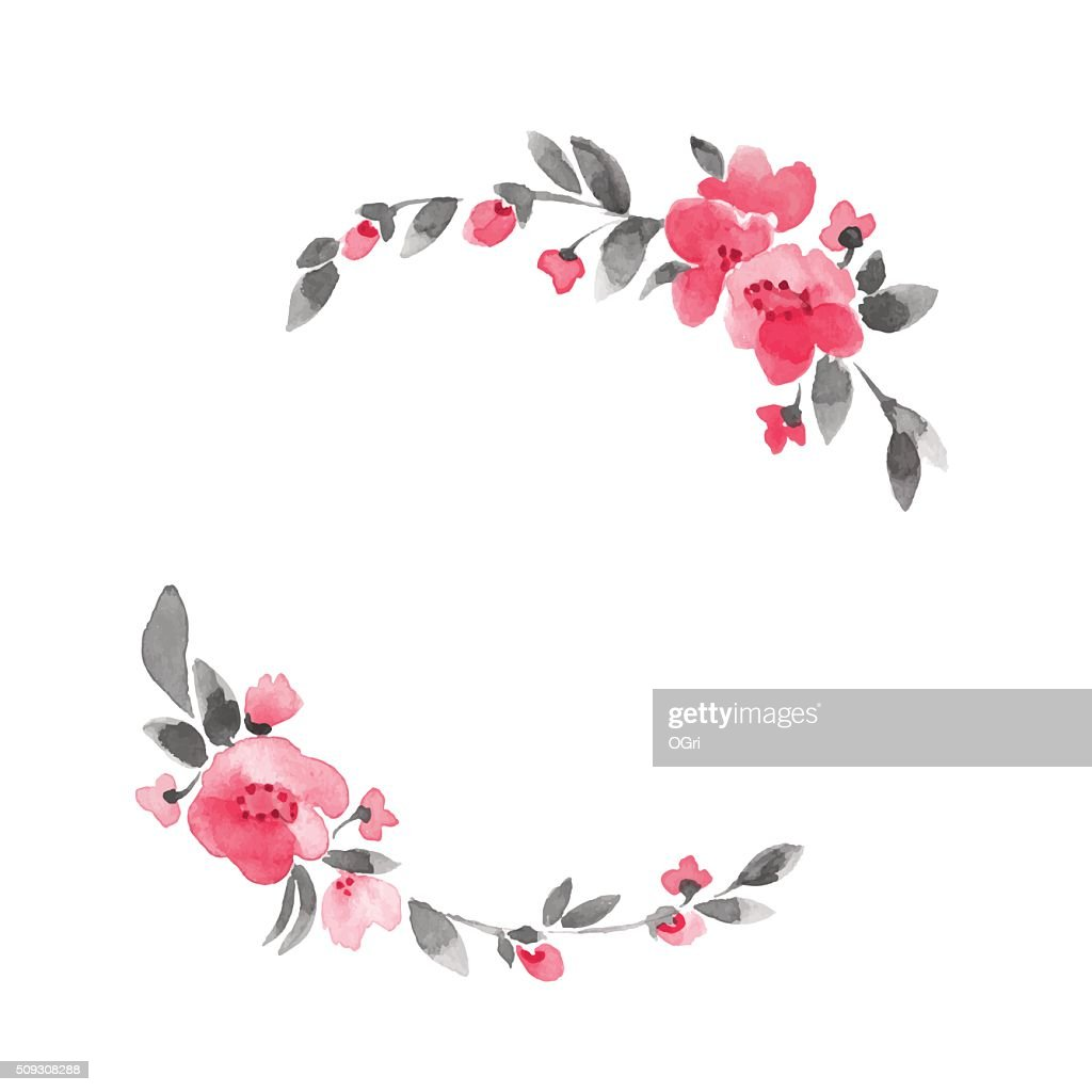 Simple floral wreath. Watercolor flowers 3 in vector