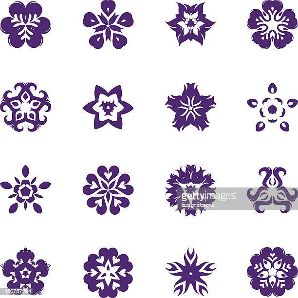 simple flower icon set - perennial stock illustrations, clip art, cartoons, & icons