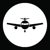 simple front view airplane isolated black icon eps10