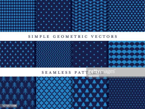 ilustraciones, imágenes clip art, dibujos animados e iconos de stock de patrón geométrico simple establece en tonos azules - azul marino