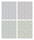 Simple geometric patterns in light pastel colors in combination with grey, different color sampler set