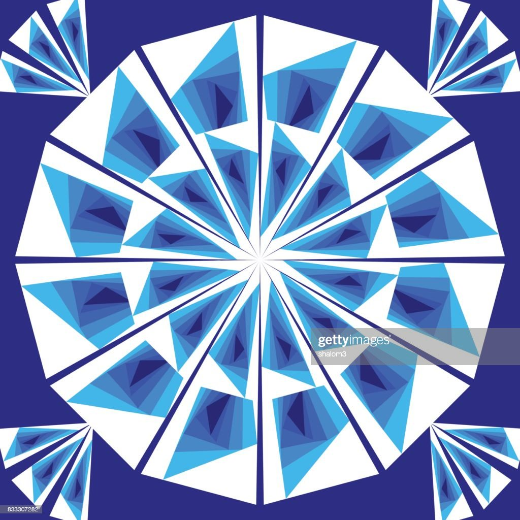 Simple geometric tile composed of white and blue triangles on dark blue background. Vector decoration or design element.