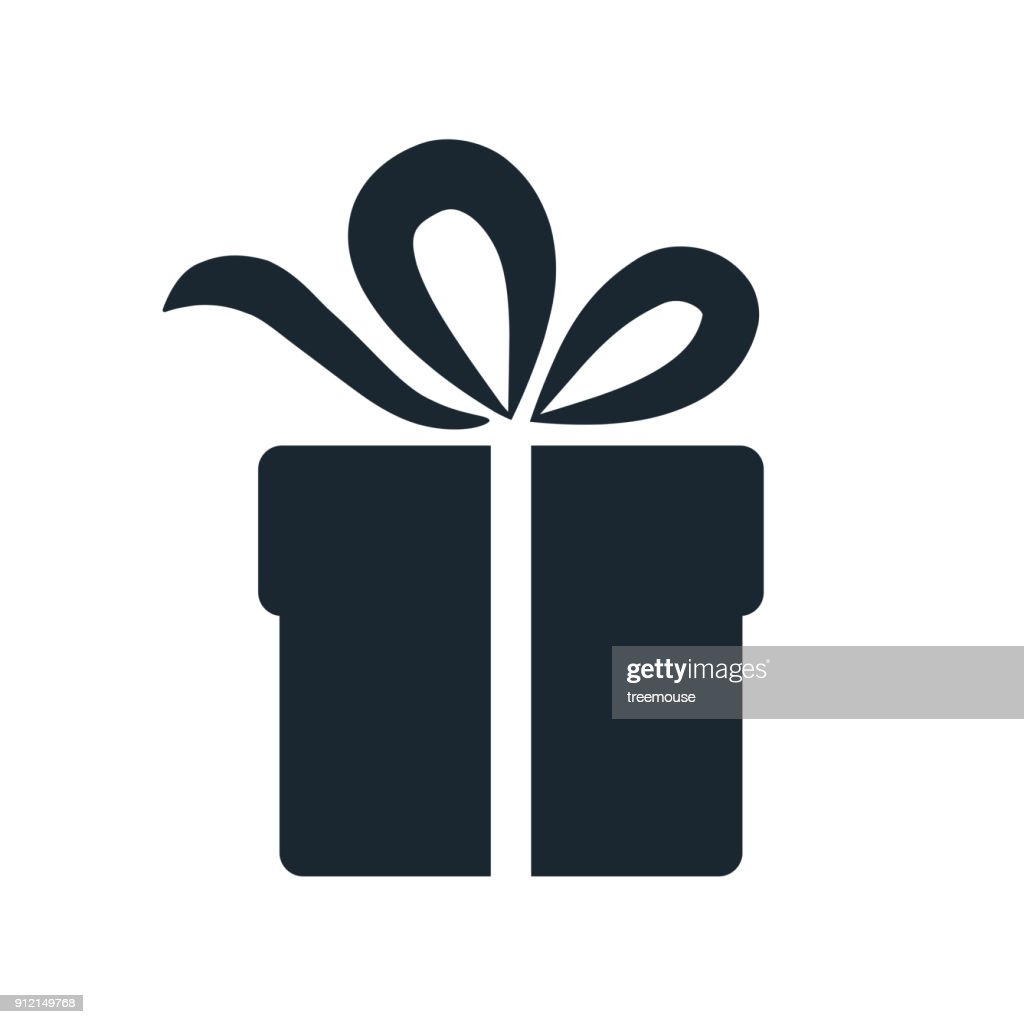 Simple gift box icon. Single color design element isolated on white. Gift giving and receiving, holiday, birthday, celebration concept.