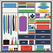 simple graphic illustration in trendy flat style  with sliding-door wardrobe