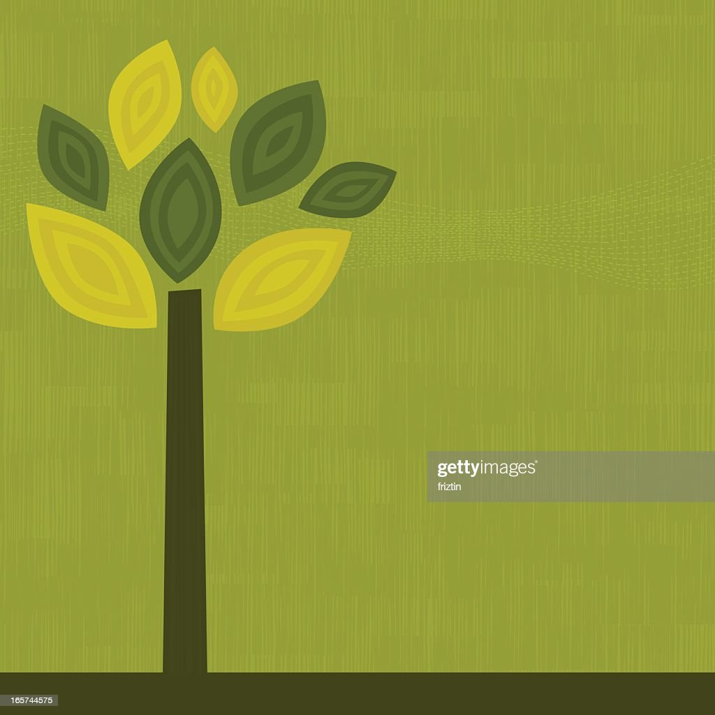 Simple graphic of a green tree on a green background