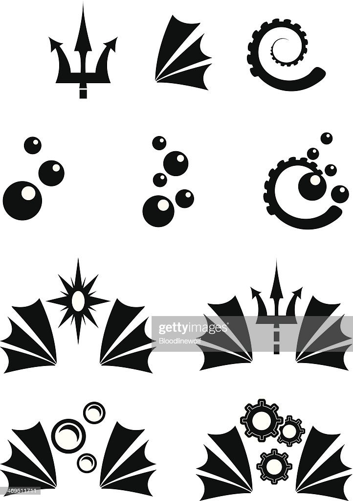 Simple Grayscale Sea Icons : stock illustration