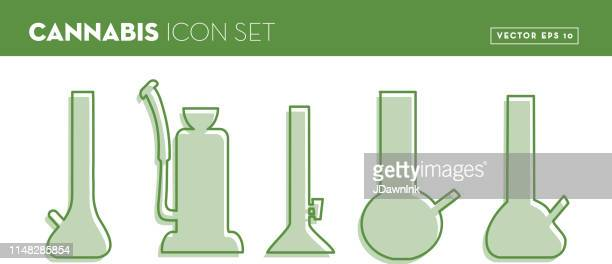 simple green bong set in outline black with color gradient - bong stock illustrations