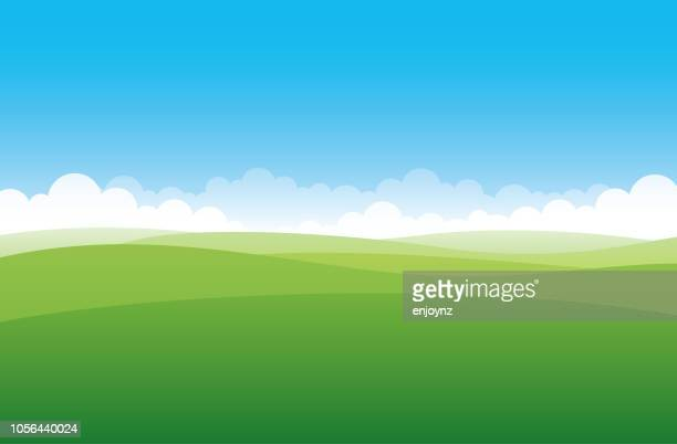 simple green field - cloud sky stock illustrations