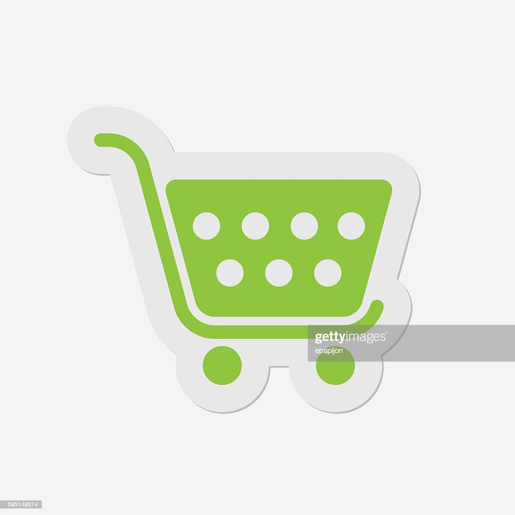 simple green icon - shopping cart