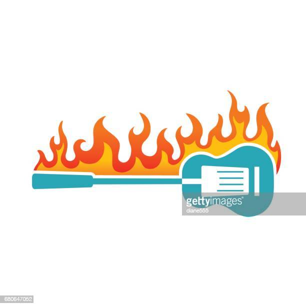 Simple Guitar and Flames Icon On White
