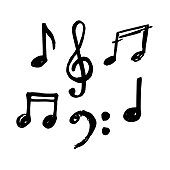 Simple hand drawn notes and musical clef in doodle style.