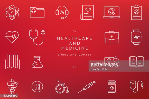 simple healthcare and medicine line icon set - blood bag stock illustrations, clip art, cartoons, & icons