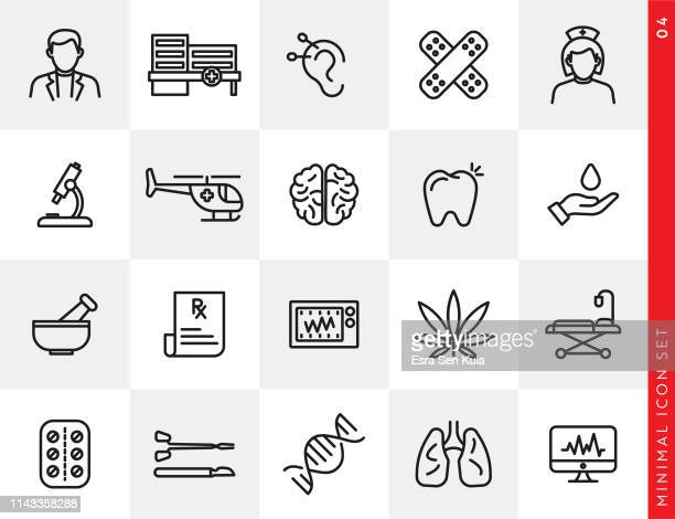 simple healthcare and medicine line icon set - acupuncture stock illustrations, clip art, cartoons, & icons
