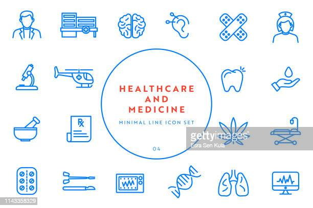 simple healthcare and medicine line icon set - human lung stock illustrations, clip art, cartoons, & icons