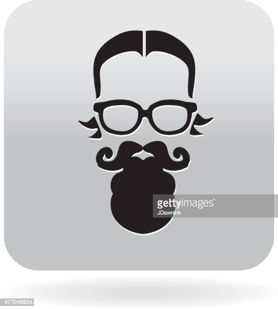 Simple Hipster man with beard and glasses icon