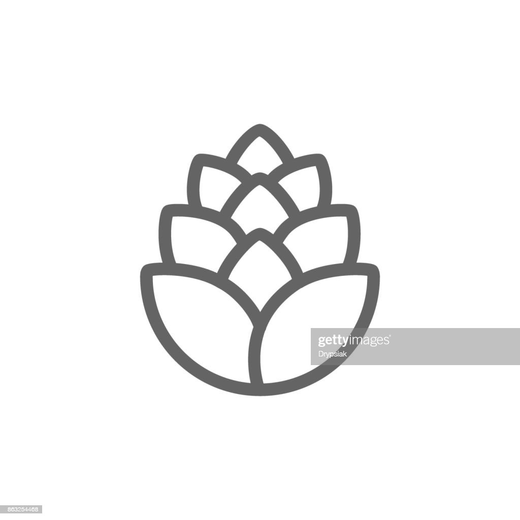 Simple hop line icon. Symbol and sign vector illustration design. Editable Stroke. Isolated on white background