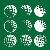 simple icon logo graphic white golfing ball on green background