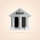 Simple icon of bank building.