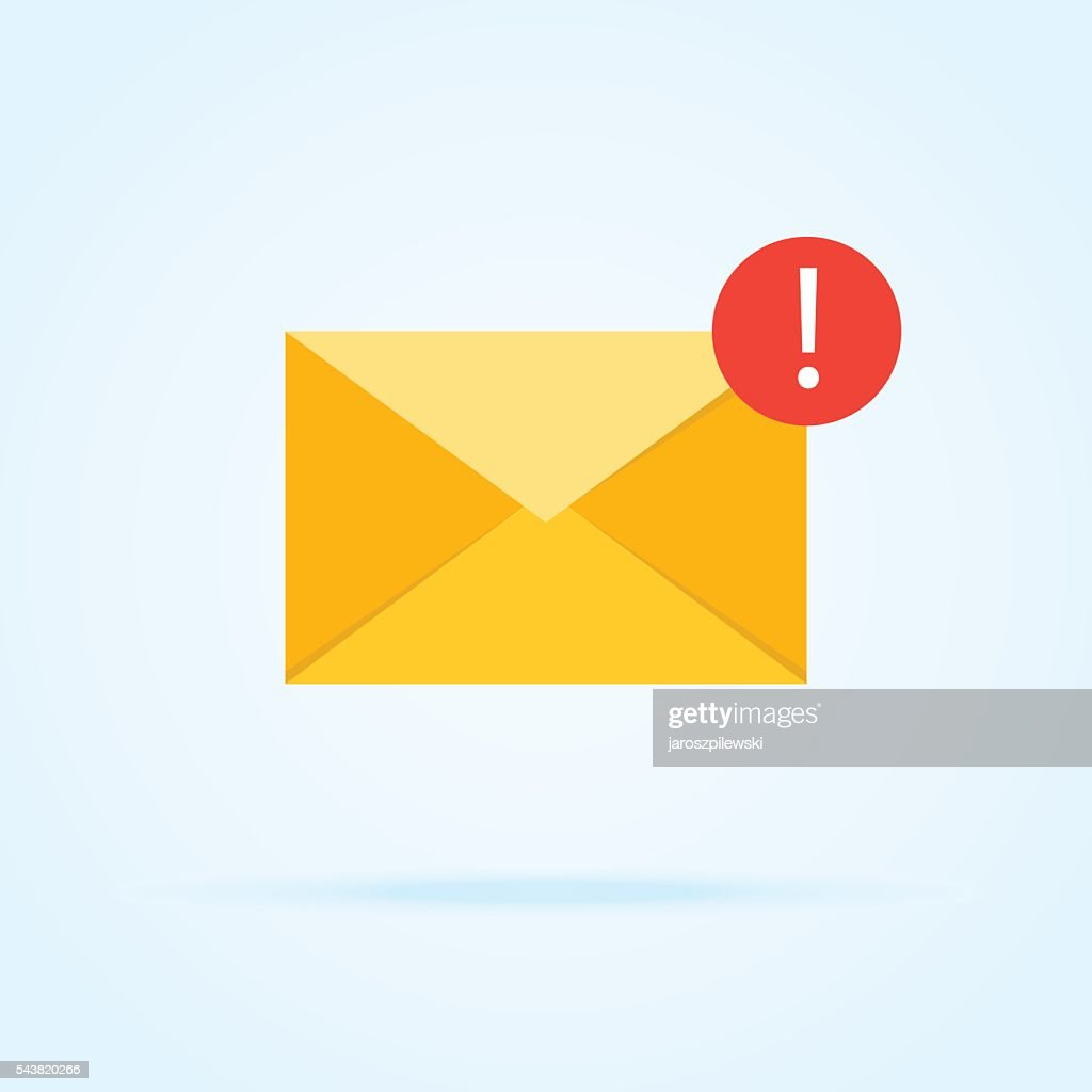 Simple icon of envelope with exclamation mark  in circle.