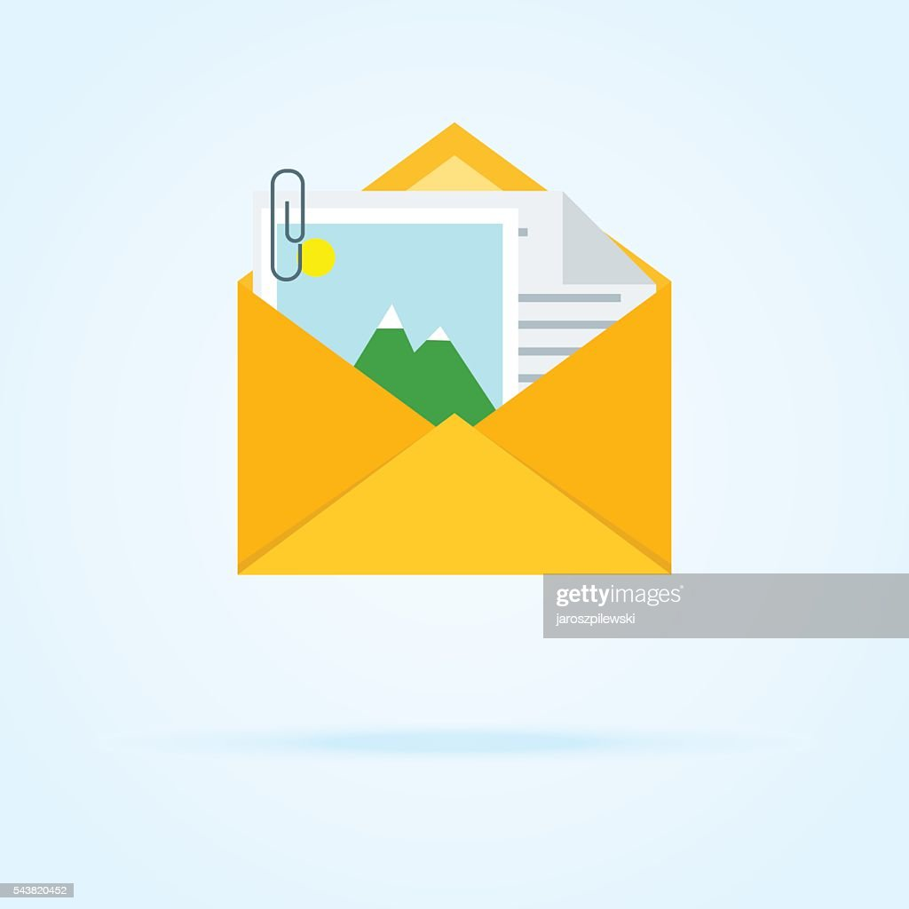 Simple icon of envelope with letter and attachment.