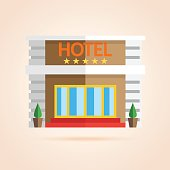 Simple icon of hotel front.