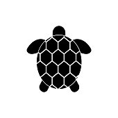 Simple icon sea turtle. View from above.