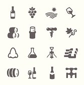 Simple Icon set related to Wine Production