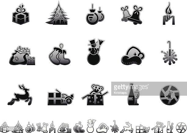 simple icons – christmas - goodie bag stock illustrations, clip art, cartoons, & icons