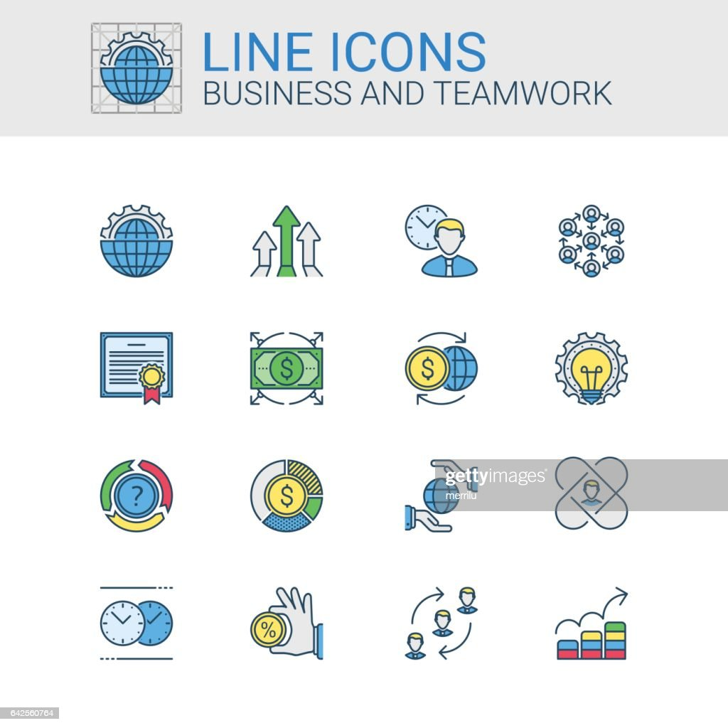 Simple icons set of Business and Teamwork in line style