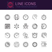 Simple icons set of Time Management and Efficiency in line style