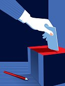 Simple Illustration Man Voting at the Ballot Box