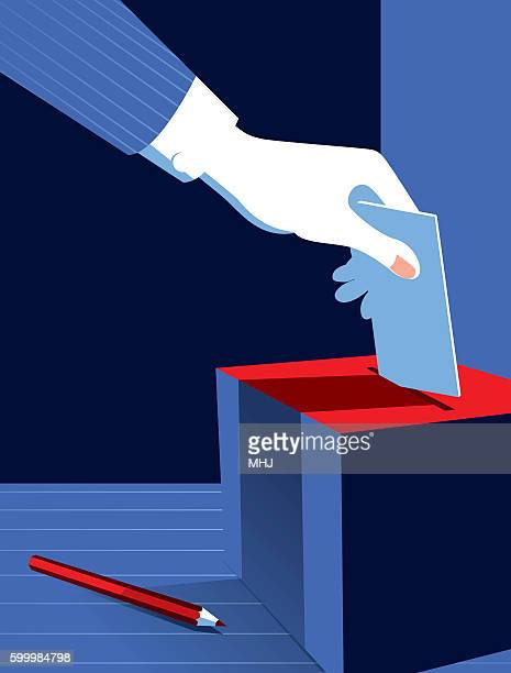 simple illustration man voting at the ballot box - ballot box stock illustrations